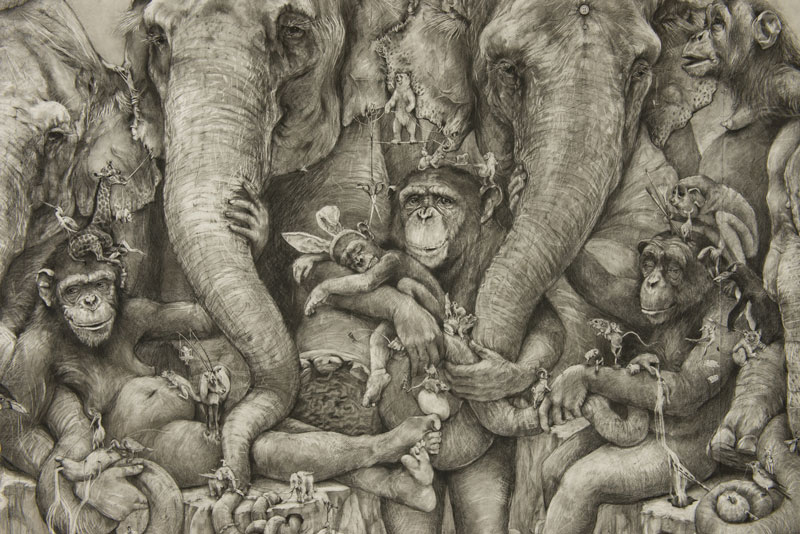 Adonna Khare's Amazing 288 sq ft Elephants Mural Drawn by Pencil