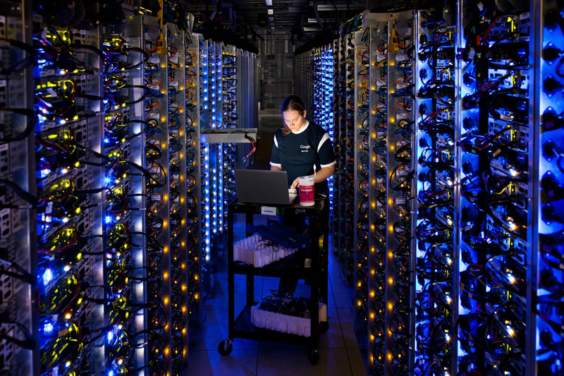 google engineer at dalles oregon data center inspecting overheated cpu A Photo Tour of Google Data Centers Around the World
