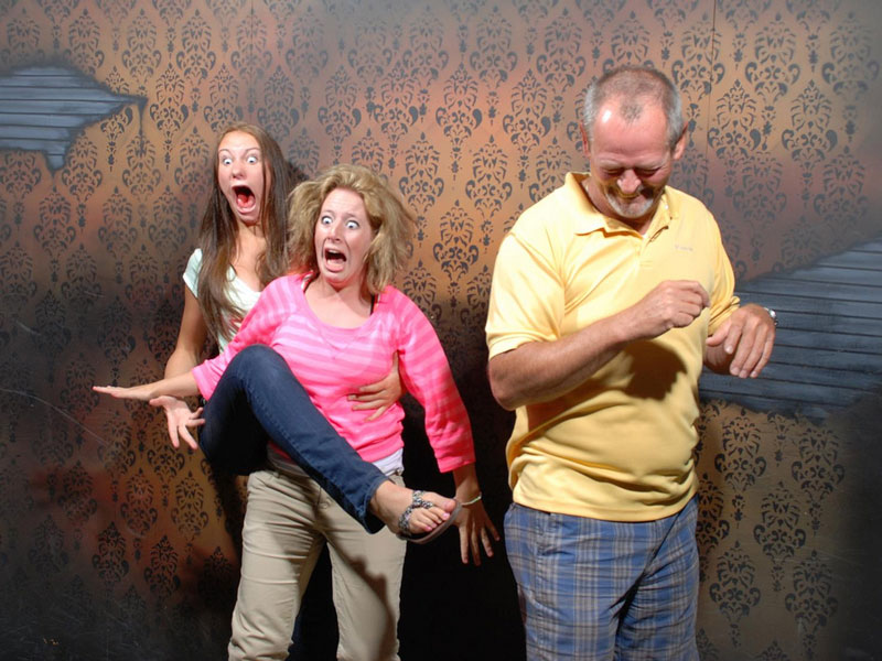 haunted house leg raise scared halloween More Pictures of People Getting Blasted with Wind