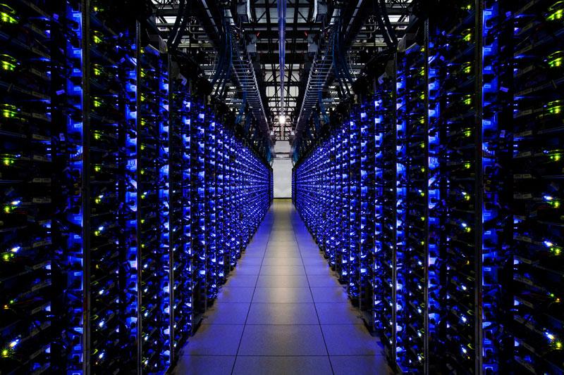 row of servers with blue leds google data center douglas county A Photo Tour of Google Data Centers Around the World