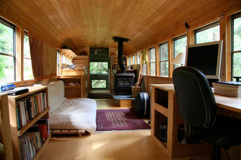 school bus conversion into mobile home 4 This Guy Used 50,000 Pieces of Wood and Made Himself a Wooden Beetle