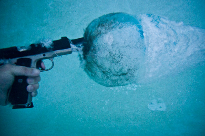 shooting glock handgun with hollow point bullets underwater 1 This is What Happens When you Shoot a Gun Underwater