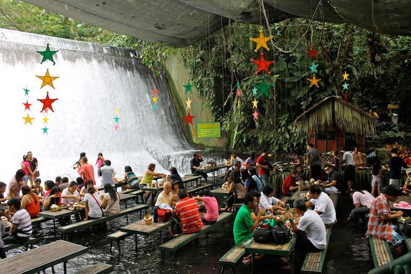 waterfall restaurant villa escudero phillippines 3 A Restaurant Beside a Waterfall