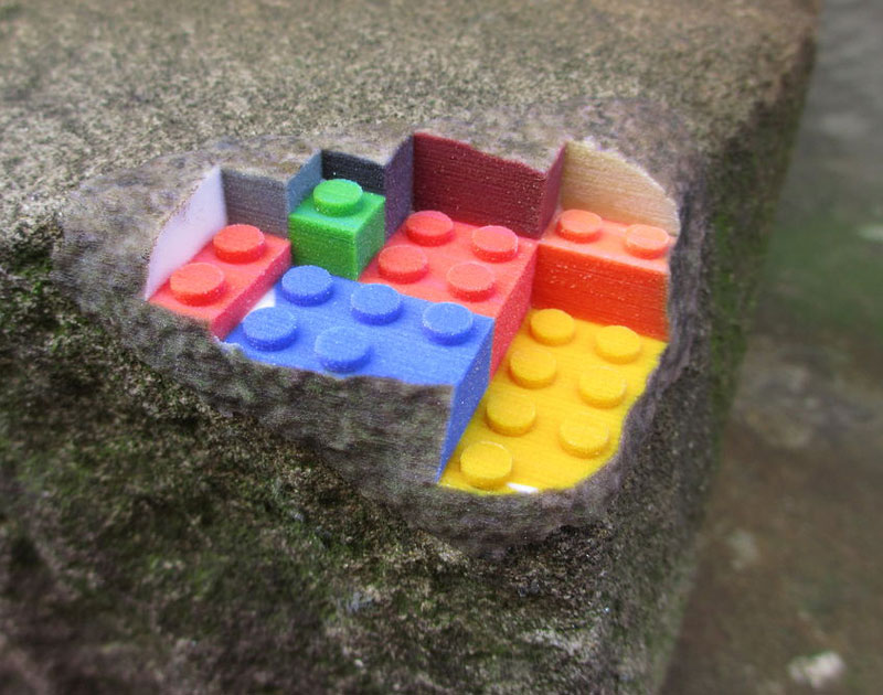 3d printed lego street art greg petchkovsky 1 3D Printed LEGO Block Blended into a Chipped Step