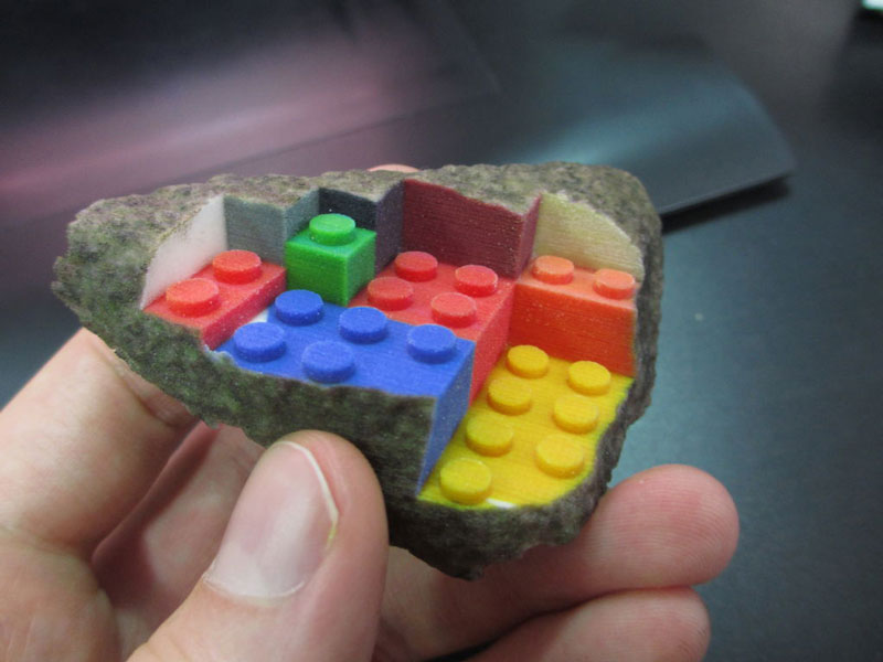 3d printed lego street art greg petchkovsky 7 3D Printed LEGO Block Blended into a Chipped Step