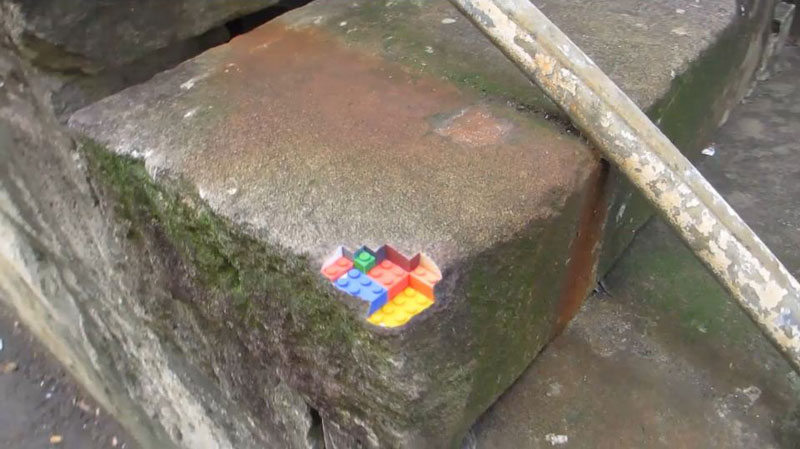 3d printed lego street art greg petchkovsky 9 3D Printed LEGO Block Blended into a Chipped Step