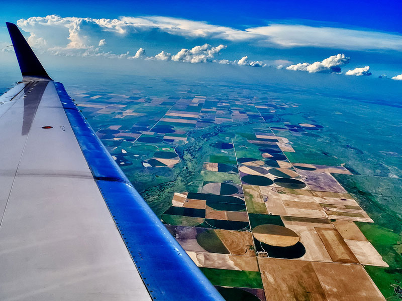 aerial over kansas from an airplane window Seeing the World Through an Airplane Window