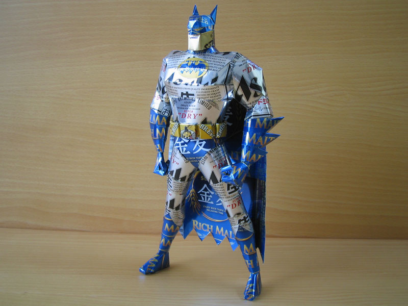 batman  made from aluminum cans japanese artist makaon