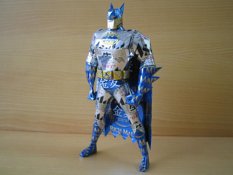 batman  made from aluminum cans japanese artist makaon