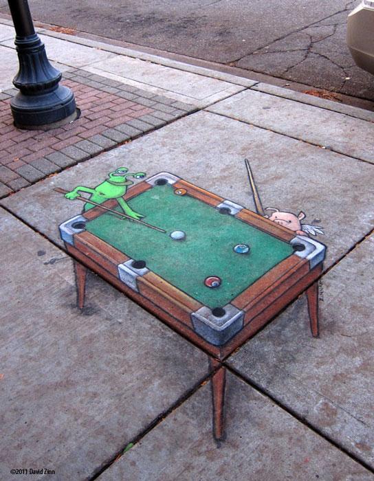 billiards by david zinn The Incredible 3D Chalk Art of David Zinn