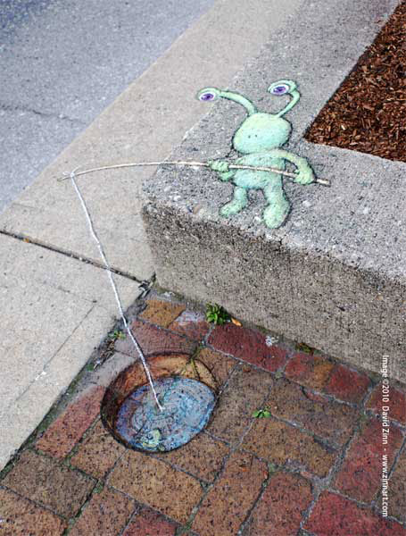 brickfishing sluggo by david zinn The Incredible 3D Chalk Art of David Zinn