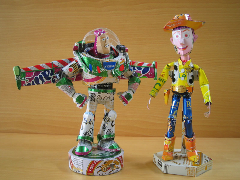 buzz lightyear woody  made from aluminum cans japanese artist makaon