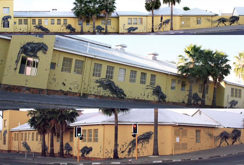 daleast breaking tempoa windhoek namibia2012 Twisted Metal Street Art Murals by DALeast