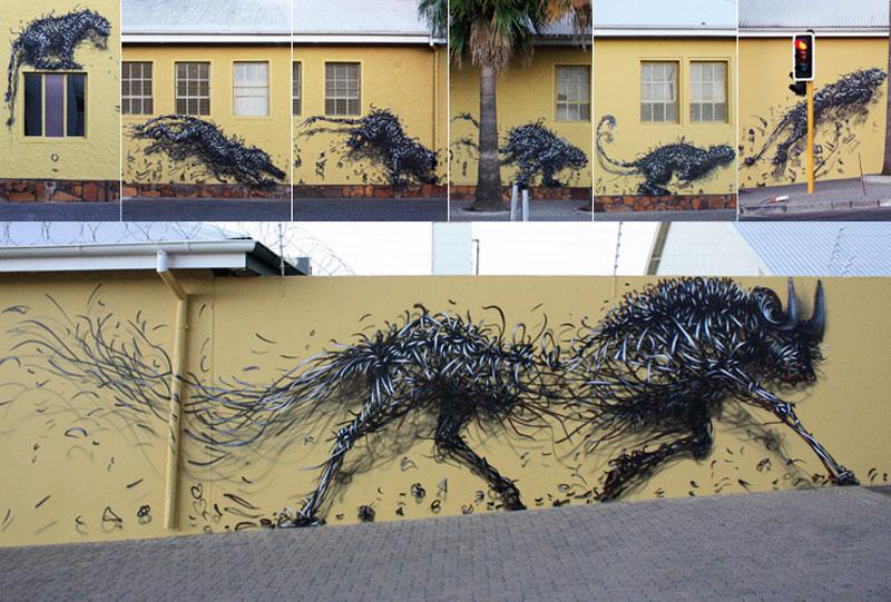 daleast breaking tempow Twisted Metal Street Art Murals by DALeast