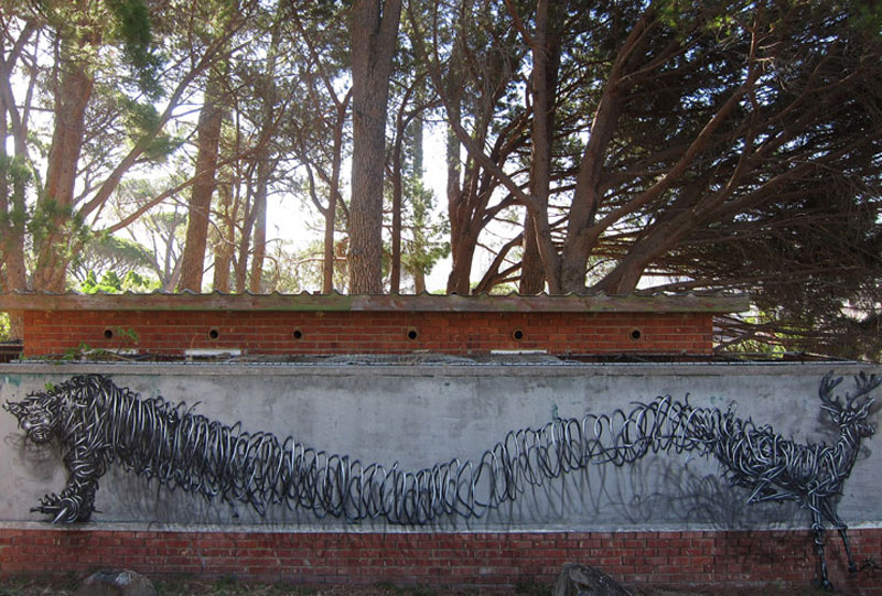 daleast deer parkcape townsouth africa2012 Twisted Metal Street Art Murals by DALeast
