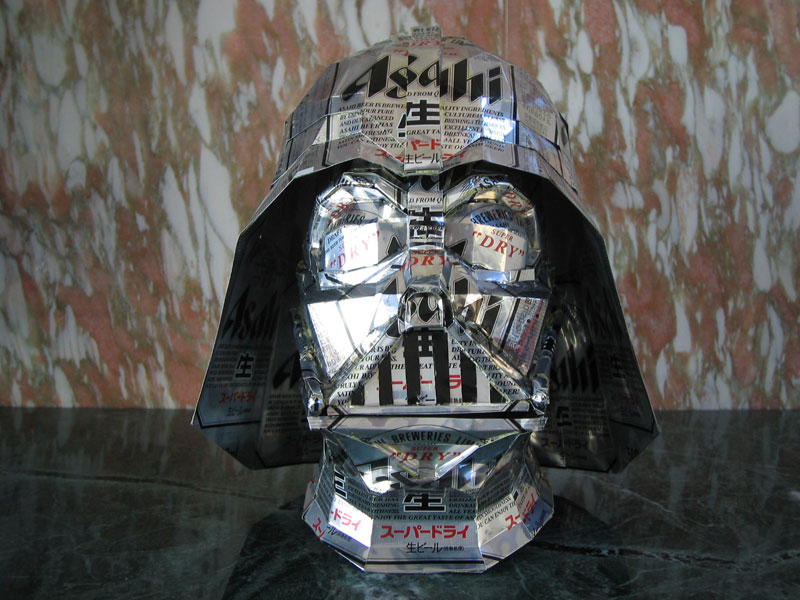 darth vader  made from aluminum cans japanese artist makaon