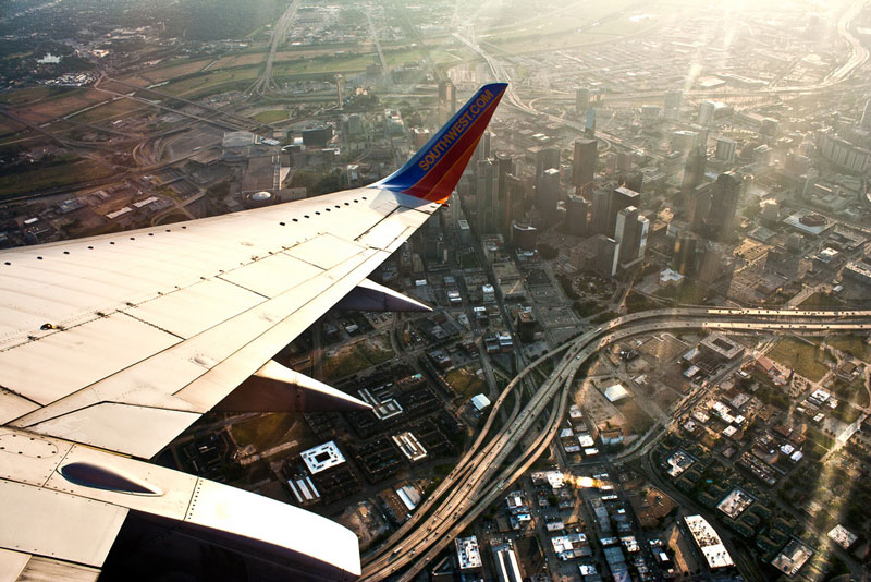 downtown dallas aerial from an airplane window Seeing the World Through an Airplane Window