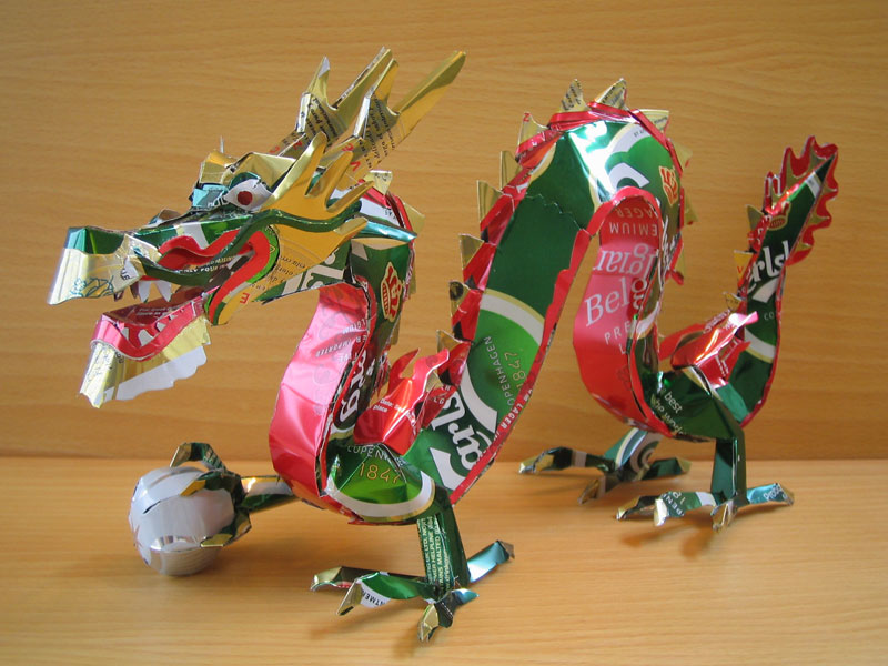 dragon  made from aluminum cans japanese artist makaon