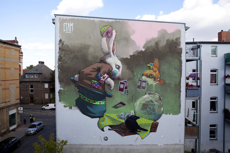 etam cru street art makao halle germany 2012 Colossal Street Art by Sainer and Bezt