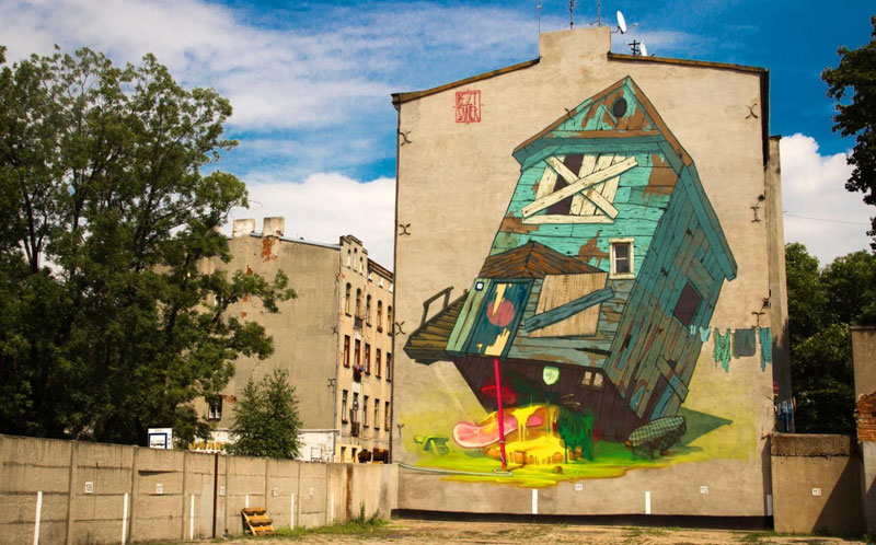 etam cru traphouse lodz poland 2012 street art Building Sized Street Art Portraits by Natalia Rak