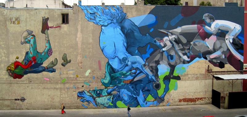 etam satone street art mural lodz poland 2011 1 Colossal Street Art by Sainer and Bezt