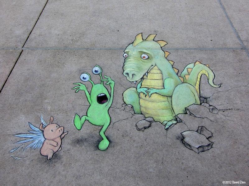 here be dragons by david zinn The Incredible 3D Chalk Art of David Zinn