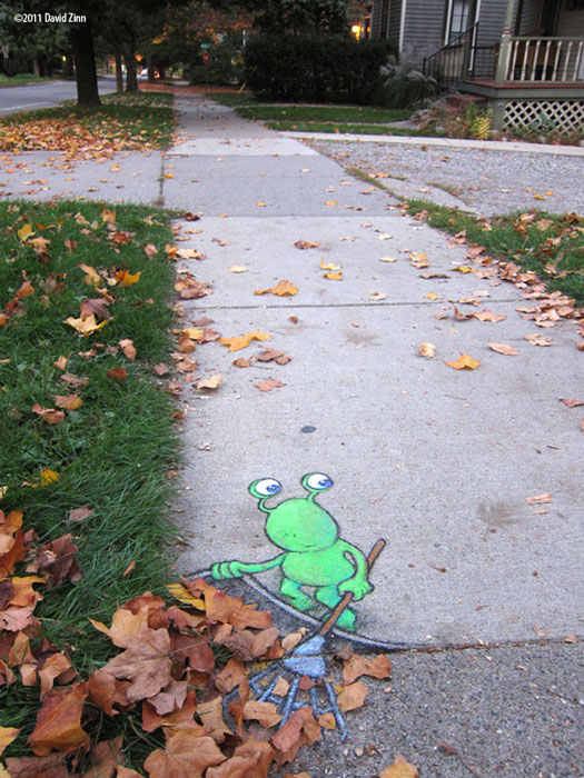 lazy leafraker by david zinn Street Art That Only Appears When It Rains