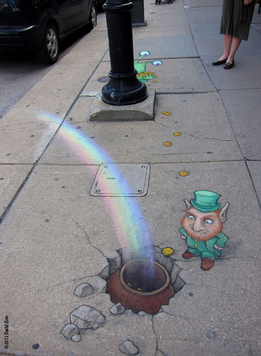 leprechaun by david zinn The Incredible 3D Chalk Art of David Zinn