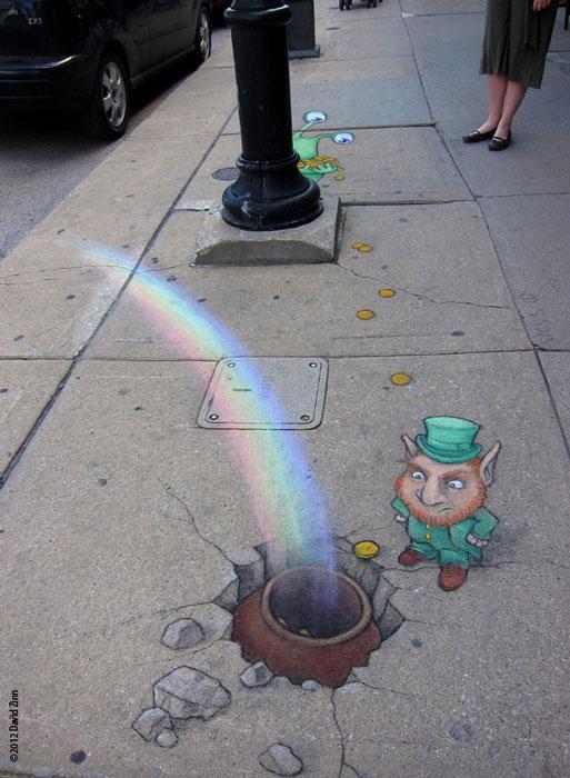 leprechaun by david zinn The Incredible 3D Chalk Art of David Zinn