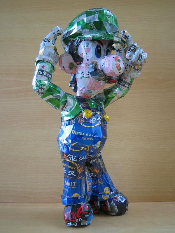 luigi  made from aluminum cans japanese artist makaon