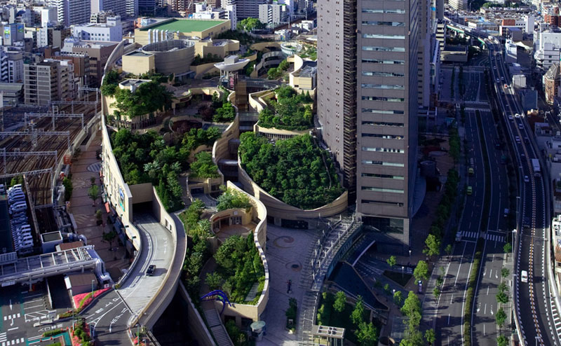 The 8 Level Rooftop Park in Osaka, Japan