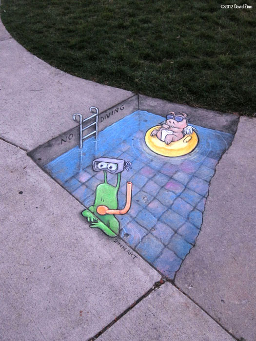 no diving by david zinn The Incredible 3D Chalk Art of David Zinn