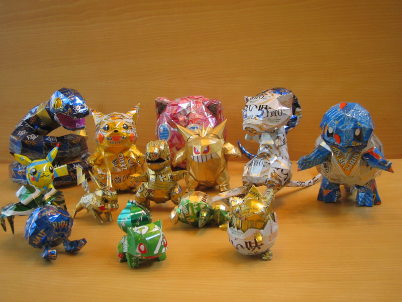 pokemon made from aluminum cans japanese artist makaon