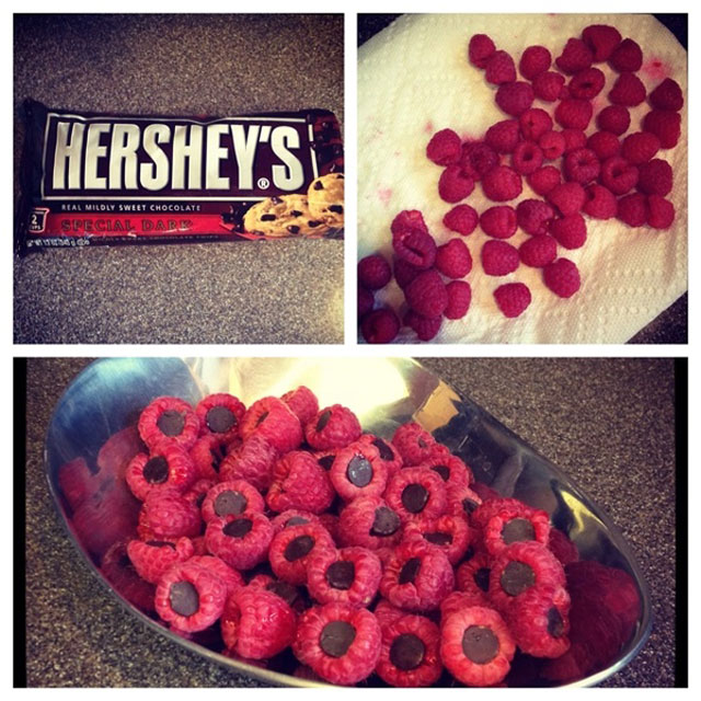 raspberries stuffed with hershey kisses 12 Delicious Dishes Served Inside Other Foods