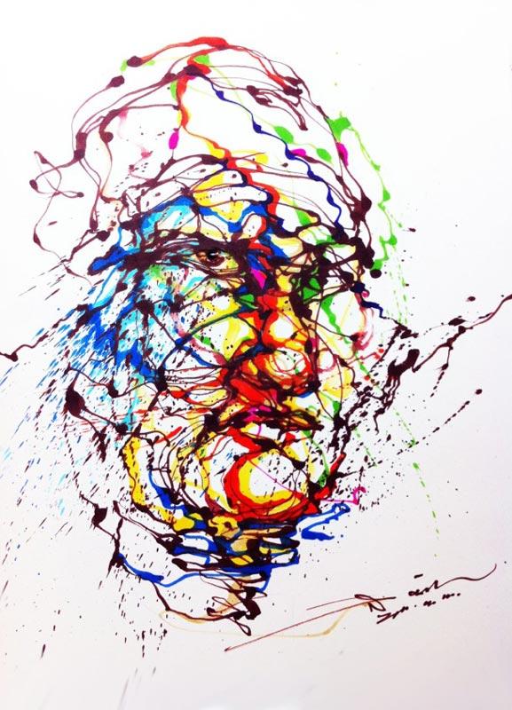 splatter paintings portraits hua tunan chen yingjie 1 Splatter Portraits by Hua Tunan