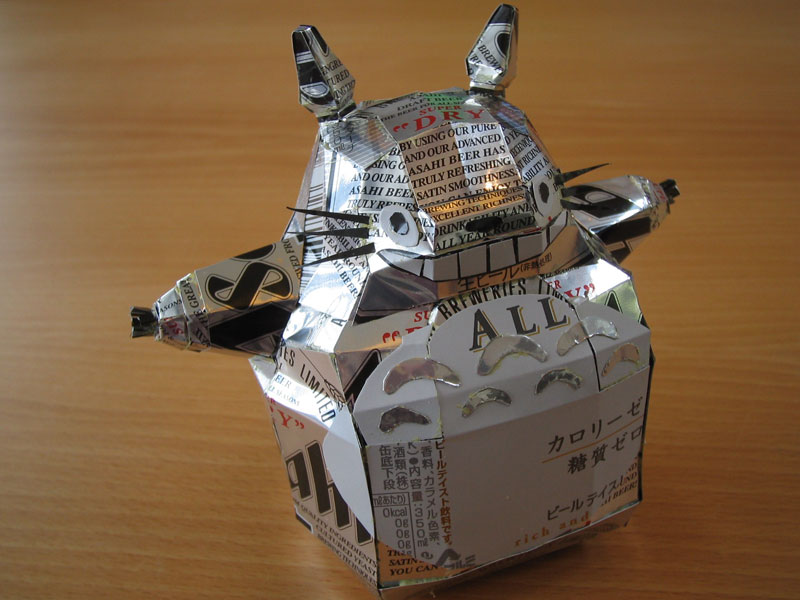 totoro made from aluminum cans japanese artist makaon