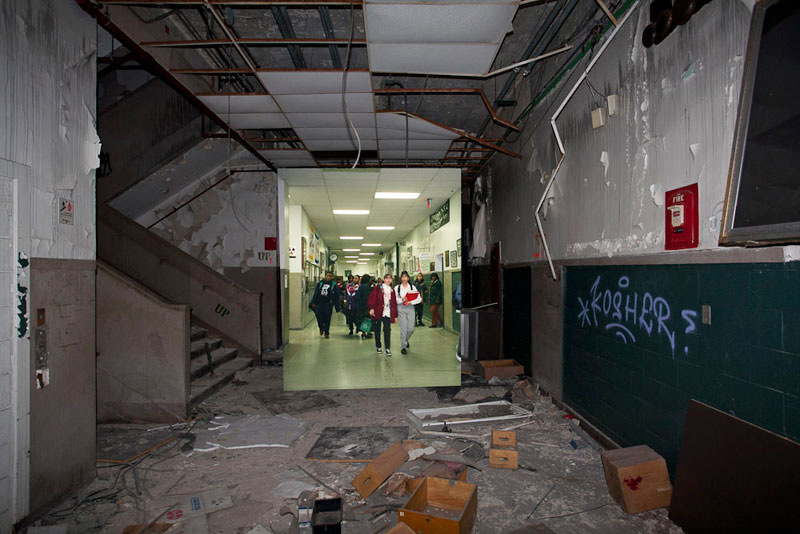 detroit cass tech now and then blended photos into abandoned school building detroit urbex (1)