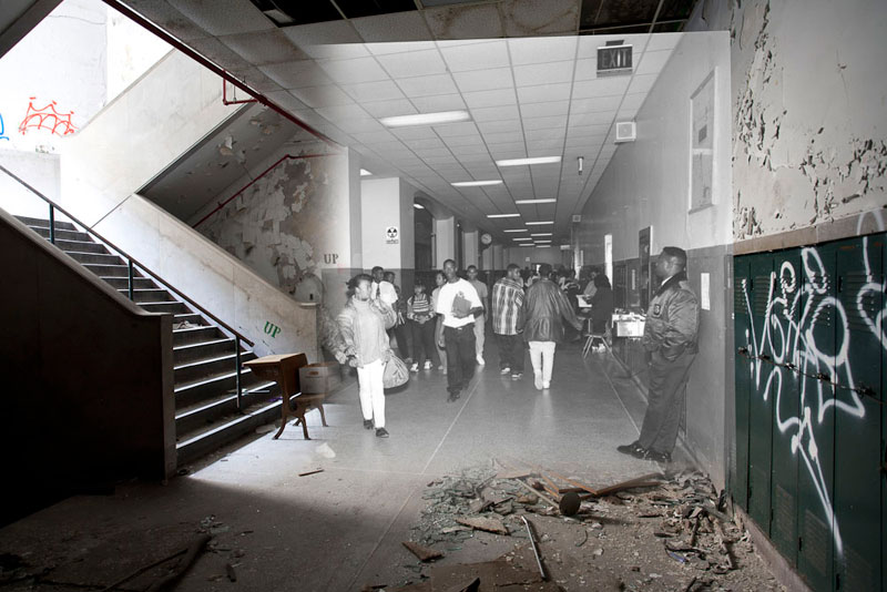 detroit cass tech now and then blended photos into abandoned school building detroit urbex (12)
