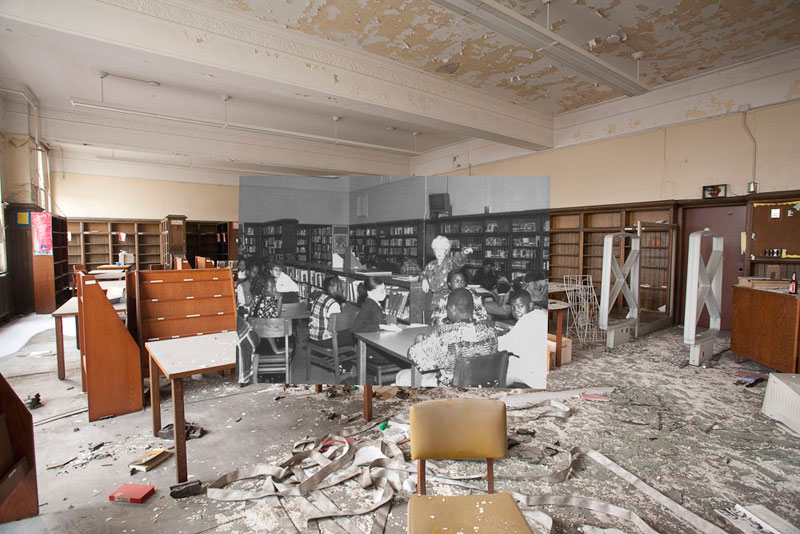 detroit cass tech now and then blended photos into abandoned school building detroit urbex (13)