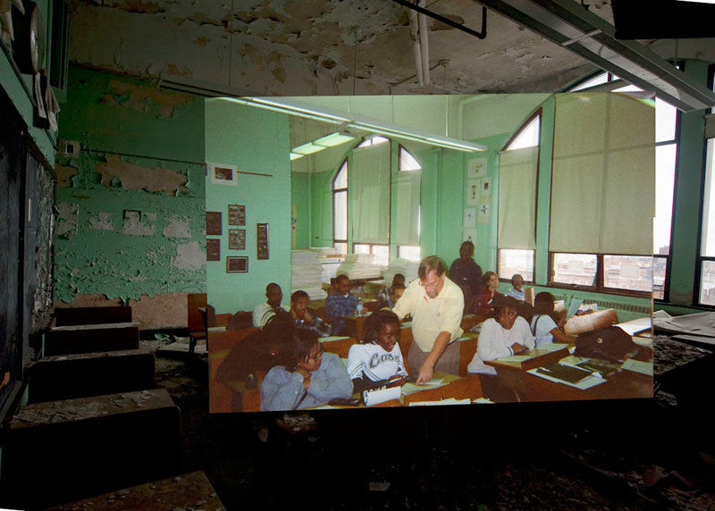 detroit cass tech now and then blended photos into abandoned school building detroit urbex (15)