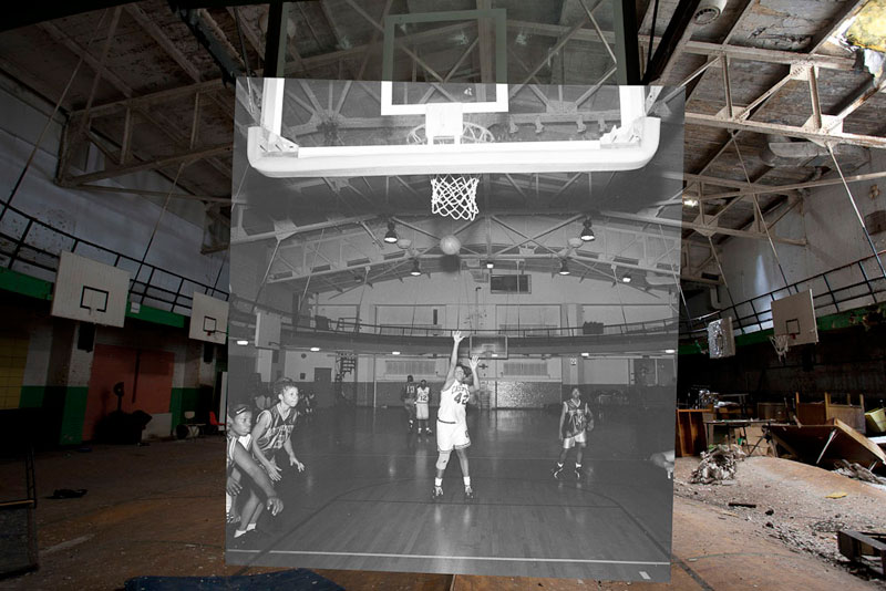 detroit cass tech now and then blended photos into abandoned school building detroit urbex (3)
