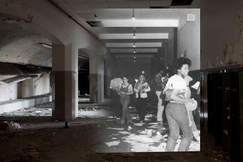 detroit cass tech now and then blended photos into abandoned school building detroit urbex (6)
