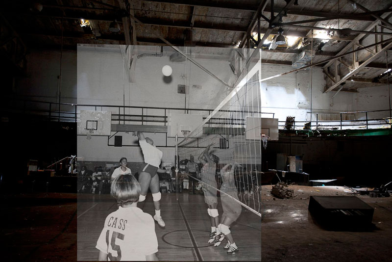 detroit cass tech now and then blended photos into abandoned school building detroit urbex (9)