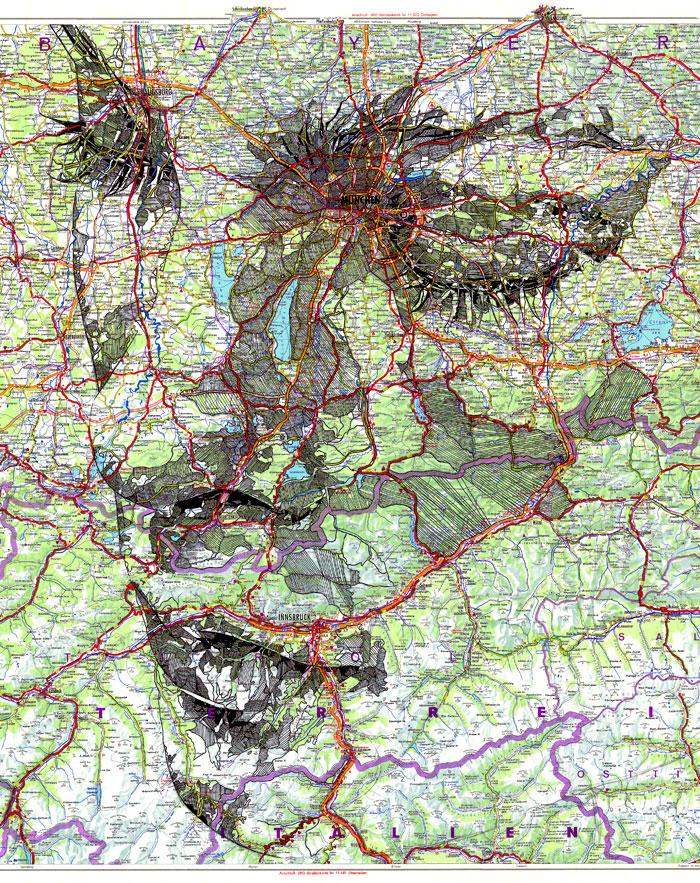 Faces Drawn Onto Maps by EdFairburn
