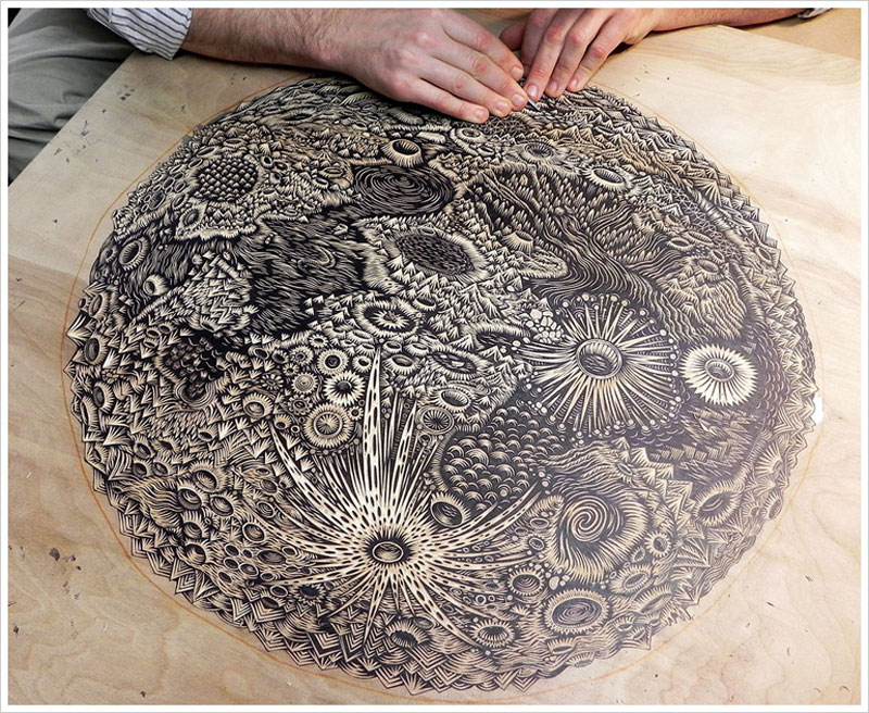 A Giant Moon Carved IntoWood