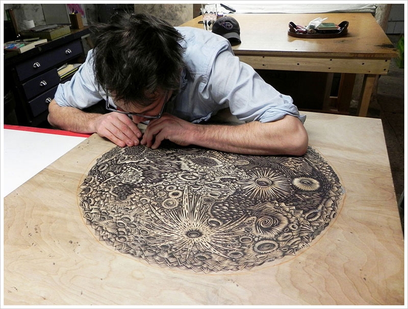 moon carved into wood paul roden valerie lueth tugboat print shop (5)
