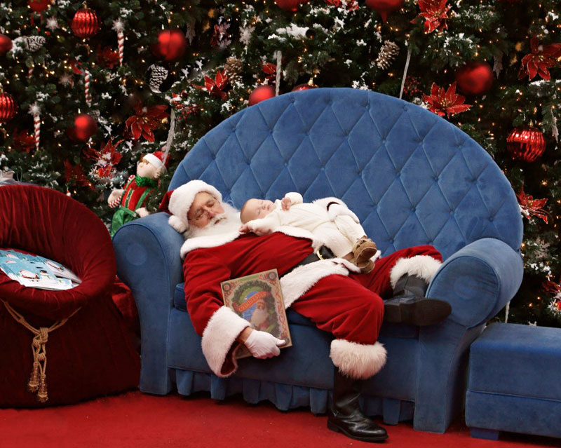sleeping baby on sleeping santa The Shirk Report   Volume 192
