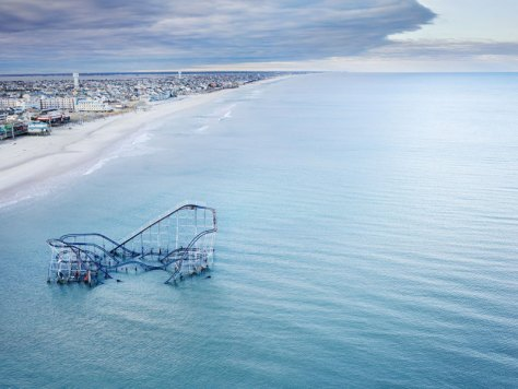 star jet roller coaster casino pier seaside heights nj submerged in atlantic ocean aerial stephen wilkes