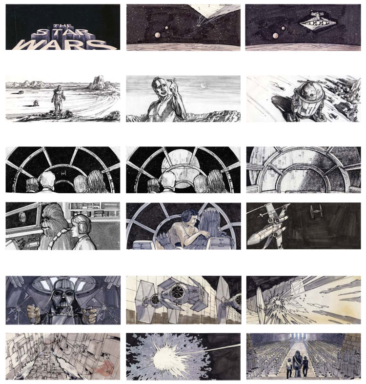 star wars storyboard Storyboards from Ten Popular Films