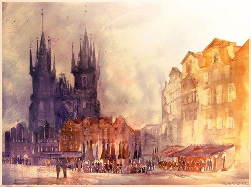 watercolor cityscapes by maja wronska takmaj poland (2)